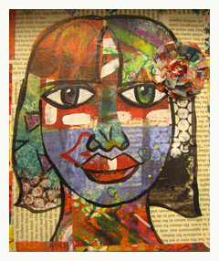mixed media collage art balzer faces