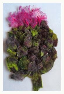 felt artichoke in bloom by peggy j schadler