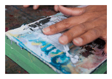 rubbing transfer paper off of encaustic painting