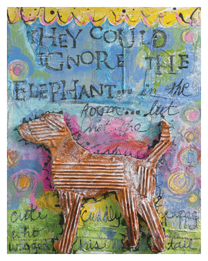upcycled art puppy collage by sue pelletier