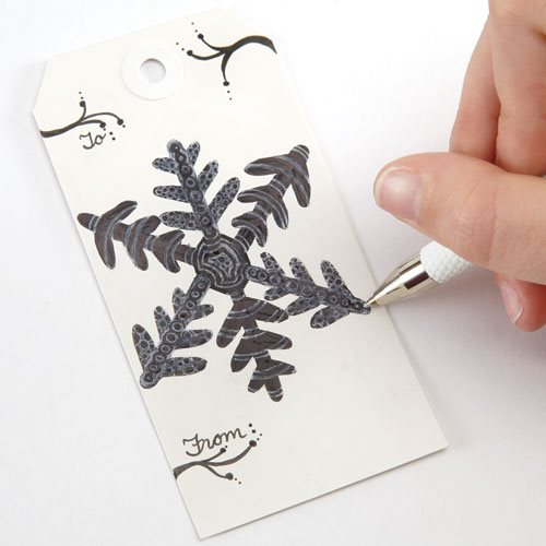 Holiday gift tag ideas - Doodled Snowflake