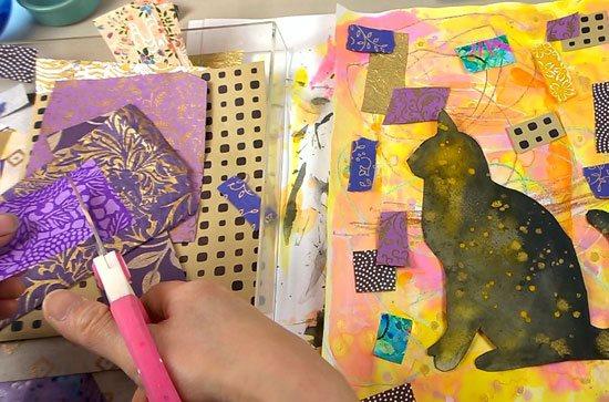Mixed-media art lessons at ClothPaperScissors.com