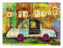 detail of road trip mixed media collage by jenny cochran lee