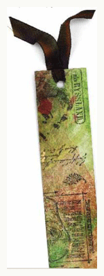 Collage bookmark on Tyvek  by Kathy McCreedy   ClothPaperScissors.com
