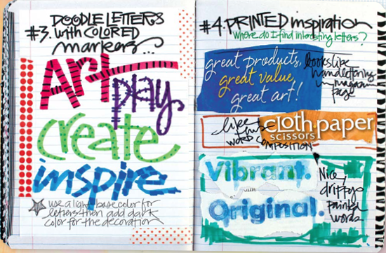 Get art journaling ideas with The Art of Whimsical Lettering