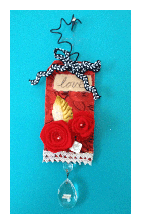 collage assemblage art tag felt roses