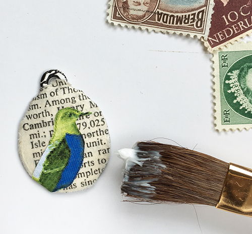 Mixed media collage pendant