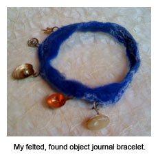 fiber art journal bracelet