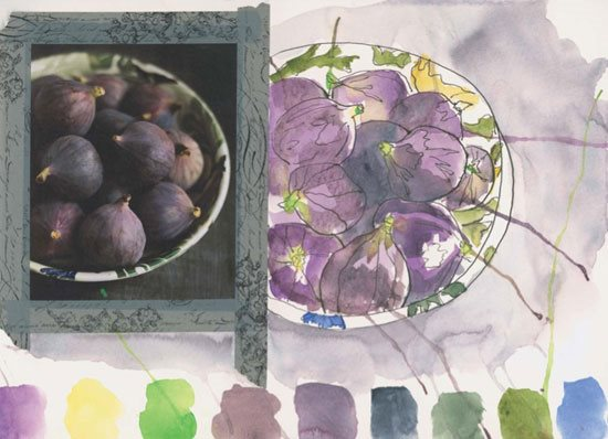 Art journaling exercises with watercolor for beginners. Artwork by Gina Rossi Armfield | ClothPaperScissors.com