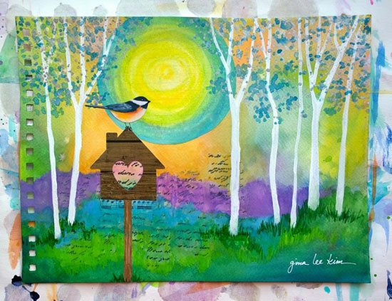 Using the color green in mixed-media art