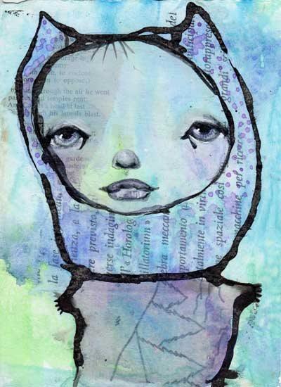 Mixed-media art by Karen O'Brien | ClothPaperScissors.com