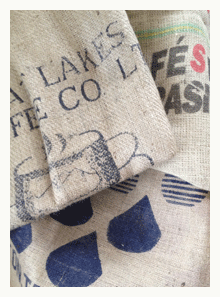 burlap coffee bags ready for upcycling