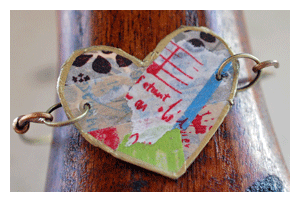 metal and paper art jewelry with washi tape