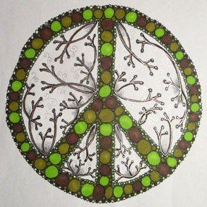 Colored-in version of Kass Hall's Zen Doodle art | ClothPaperScissors.com