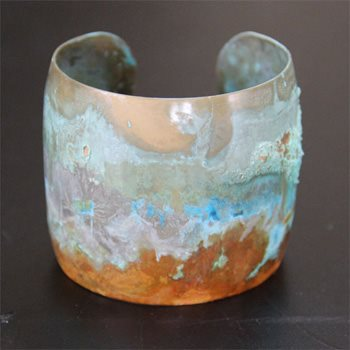 Brass cuff bracelet with patina