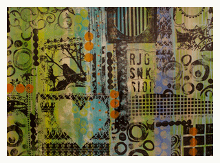 collage with mark making by margaret applin