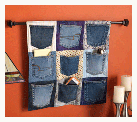 Upcycling jeans pockets into a wall hanging | ClothPaperScissors.com