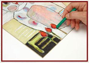 Mixed-media painting techniques | Staci Swider, ClothPaperScissors.com