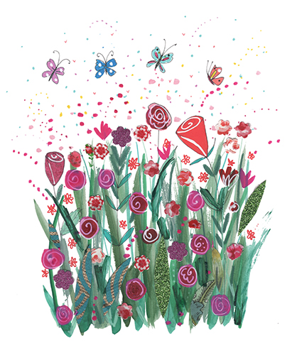 Collage adds depth to this colorful rose garden from the North Light book Doodle Trees and Happy Bees