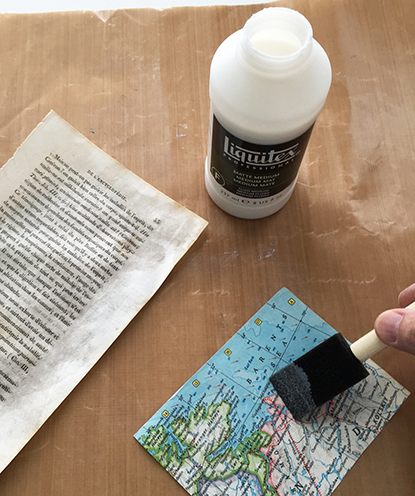 Coating collage papers with acrylic medium
