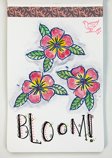 Art journal page with curved lettering