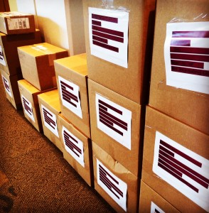 Boxes filled with supplies for the classes