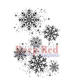 Deep Red Stamps Snowflake Background