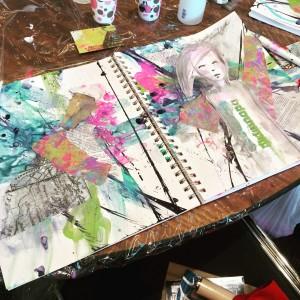 Dina Wakley at Art Journaling Live 2
