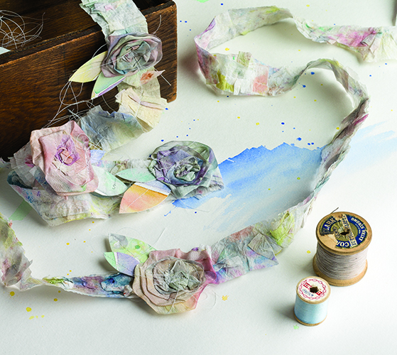 Hand-dyed ribbon flowers from March/April 2016 Cloth Paper Scissors