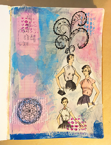 Adding doodles to an art journal page
