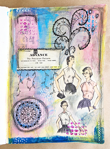 Doodled art journal page