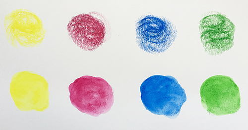 Wet and dry color swatches of art supplies