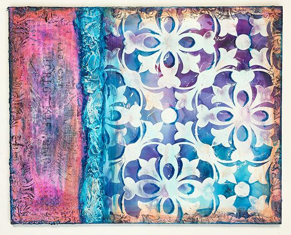 Venetian plaster art, from Cloth Paper Scissors Art Lessons Volume 3: Venetian Plaster Party