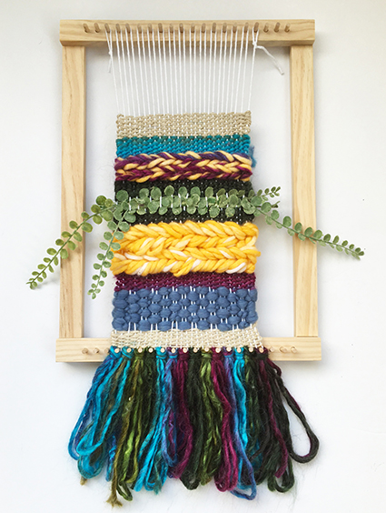 Mixed-media weaving with plain and soumak weaves