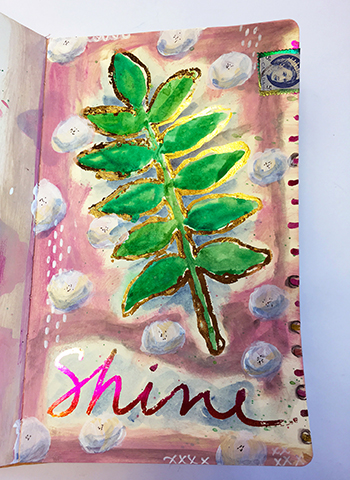Art journal page with Therm O Web iCraft Deco Foil