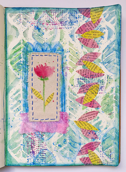 Art journal page using wax pastels as the only color medium art supplies