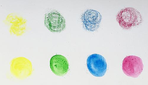 Testing wax pastel art supplies on gesso