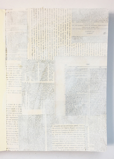 Gesso painted over book text