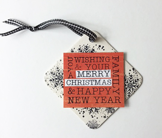 Deep Red Stamps holiday ornament