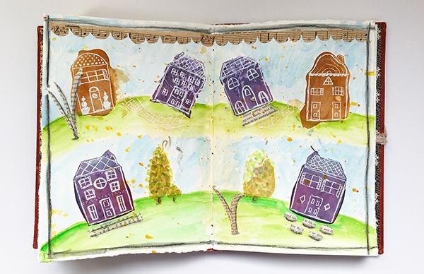 Tea bag art journal pages