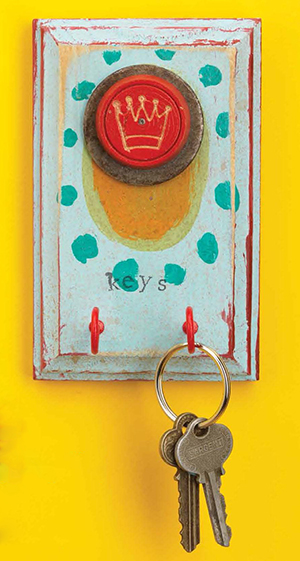 A mixed-media key holder makes for great handmade studio decor; featured in Cloth Paper Scissors Gifts magazine