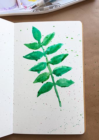 Stenciled leaf