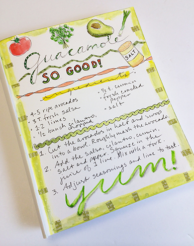Food journal page with hand lettering