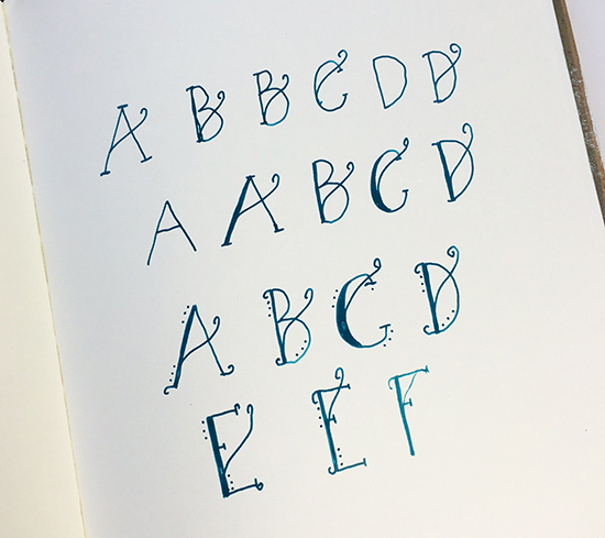 Lettering with a painting pen