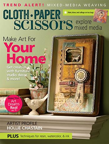 Tea bag art featured in March/April 2017 Cloth Paper Scissors magazine