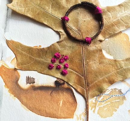 Leaf, metal, and stitch