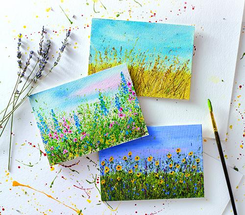 Acrylic paint splatter landscape