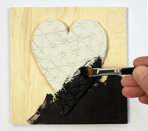 Painting the panel and the tangle-inspired heart black
