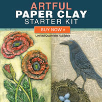 "Learn how to sculpt and paint paper clay with this exclusive kit! Includes the book ""Artful Paper Clay,"" 16 ounces of Creative Paperclay, and a 12-piece set of double-ended sculpting tools!"