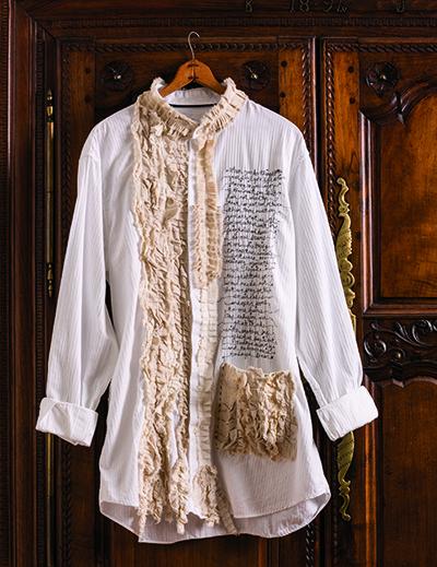 Altered art ruffled blouse